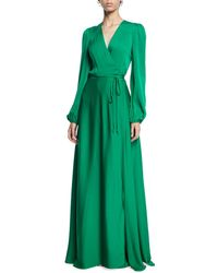 MILLY - Gina Long-sleeve Stretch Silk Wrap Gown - Lyst