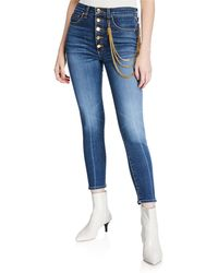 """Veronica Beard - Debbie 10"""" Rise Skinny Jeans With Gold Chains - Lyst"""