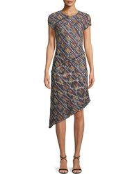 St. John - Painterly Multi-tweed Knit Asymmetric Fringe Dress - Lyst