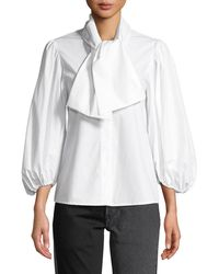 Isa Arfen - Esther Tie-neck Blouson-sleeve Poplin Top - Lyst
