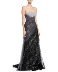 Pamella Roland - Sequin Embroidered Hand Draped Tulle Evening Gown - Lyst