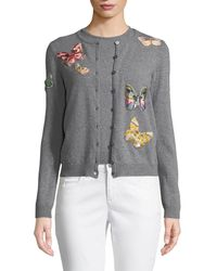 Valentino - Butterfly-embroidered Button-front Wool-cashmere Cardigan Set - Lyst