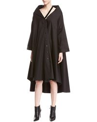 Palmer//Harding - Jasmin Bateau-neck Button-front Long-sleeve A-line Dress - Lyst