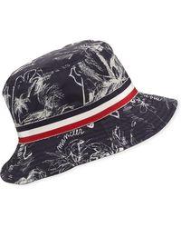 35c9100fde1 Moncler - Men s Berretto Tropical-print Bucket Hat - Lyst