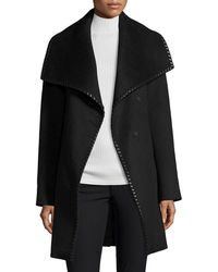 Elie Tahari - Wool-blend Wrap Coat W/ Whipstitched Leather Trim - Lyst