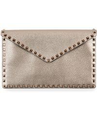 Valentino - Rockstud Metallic Envelope Clutch Bag - Lyst