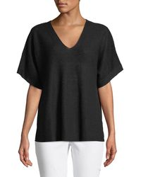 Eileen Fisher - Short-sleeve V-neck Organic Linen Top - Lyst