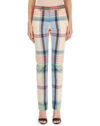 Victoria Beckham - Madras Plaid Straight-leg Pants - Lyst