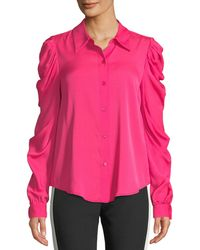 MILLY - Charlie Ruched-sleeve Silk Top - Lyst