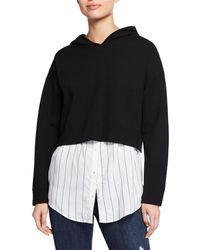 Alice + Olivia - Dorma Boxy Hoodie W/ Button-down Layer - Lyst
