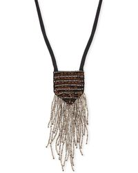 Eileen Fisher - Metal & Sequin Silk Pendant Necklace - Lyst