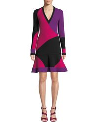 NK32 Naeem Khan - Long-sleeve Colorblock V-neck Cocktail Dress - Lyst