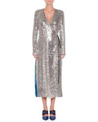 Attico - Long-sleeve Sequin And Velvet Robe Wrap Cocktail Dress - Lyst
