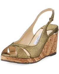 44392c986e07 Jimmy Choo - Amely 80mm Crackled Leather Cork Wedge Sandal - Lyst