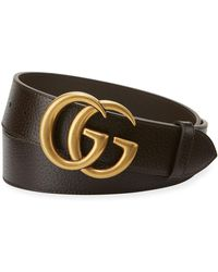 1d28de699d7 Lyst - Gucci Reversible Leather Double G Belt in Black for Men
