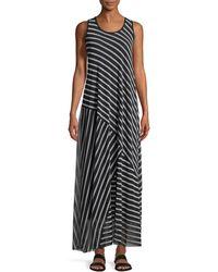 Fuzzi - Striped Patch Sleeveless Maxi Dress - Lyst