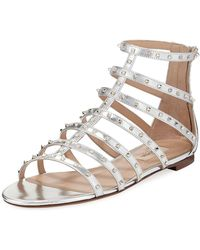 Valentino - Lovestuds Caged Metallic Flat Sandal - Lyst