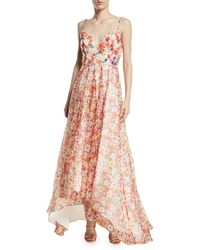 Badgley Mischka - Beaded Floral Organza High-low Gown - Lyst