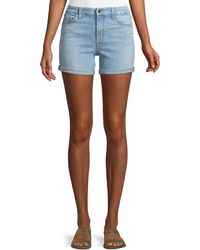 7 For All Mankind - Mid-rise Roll Denim Shorts - Lyst