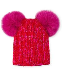 Eugenia Kim - Mimi Metallic Knit Beanie Hat W/ Fur Pompoms - Lyst