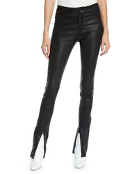 PAIGE - Constance Split-front Leather Skinny Pants - Lyst