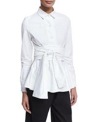 Co. - Tiered Poplin Shirt With Obi Belt - Lyst