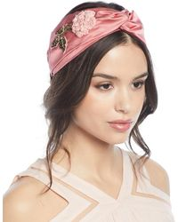 Jennifer Behr - Silk Turban Head Wrap W/ Beaded Flower Embroidery - Lyst