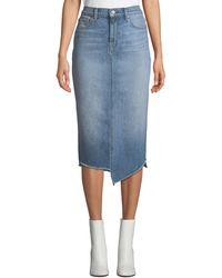 7 For All Mankind - Spliced Denim Pencil Skirt - Lyst
