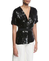 Narciso Rodriguez - Sequined Silk Short-sleeve Jacket - Lyst