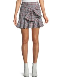 Veronica Beard - Draped Flounce Picnic Plaid Mini Skirt - Lyst