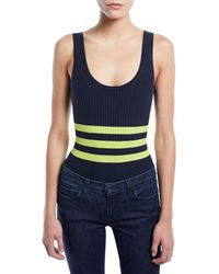 Kendall + Kylie - Striped Ribbed Sleeveless Bodysuit - Lyst