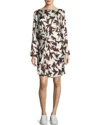 A.L.C. - Freja Twist-front Printed Silk Dress - Lyst
