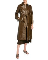 Vince - Long Double-face Leather Trench Coat - Lyst