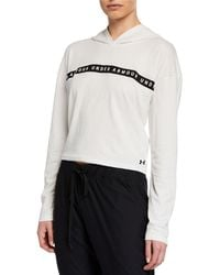 Under Armour - Logo Taped Cropped Hoodie - Lyst