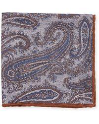 Edward Armah - Washed Silk Paisley & Check Pocket Square - Lyst