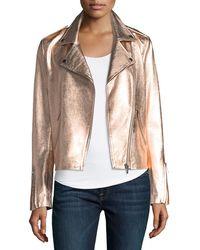 Neiman Marcus - Zip-front Metallic Leather Moto Jacket - Lyst