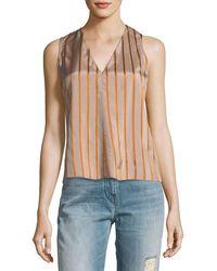 Giada Forte - V-neck Sleeveless Striped Top - Lyst