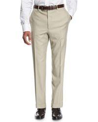 Brioni - Wool Flat-front Trousers Tan - Lyst