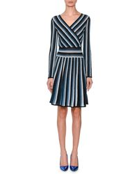 Missoni - Long-sleeve Metallic Stripe Wrap Mini Dress - Lyst