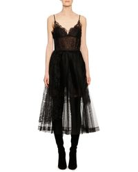 Ermanno Scervino - V-neck Thin-strap Fit-and-flare Lace Tulle Mid-calf Dress - Lyst