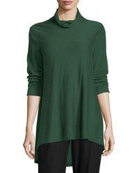 Eileen Fisher - Sleek Scrunch-neck Knit Top - Lyst