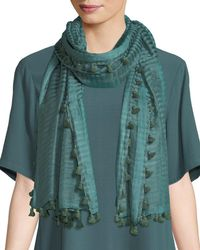 Eileen Fisher | Hand-loomed Organic Cotton/silk Scarf W/ Pompoms | Lyst