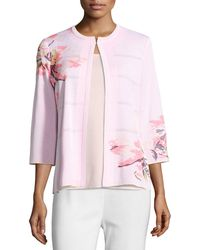 Misook - Jewel Neck 3/4 Sleeve Floral Jacket - Lyst