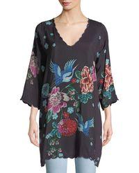 374e18adfe687 Lyst - Johnny Was Nellis Short-sleeve Printed Silk Tunic
