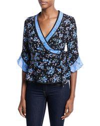 Nanette Lepore - Ophelia V-neck Half-sleeve Silk Top - Lyst