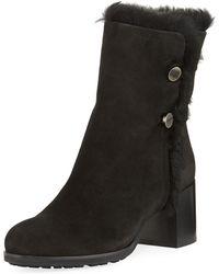 Aquatalia - Evangeline Fur-trim Block-heel Boot - Lyst