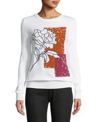 Oscar de la Renta - Crystal-embellished Crewneck Pullover Sweater - Lyst
