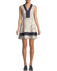 10 Crosby Derek Lam - Tiered V-neck Mini Dress W/ Denim Contrast - Lyst