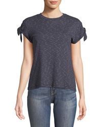 10 Crosby Derek Lam - Striped Knot-sleeve Tee - Lyst
