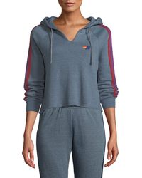 Aviator Nation - Split-neck Cropped Pullover Hoodie - Lyst